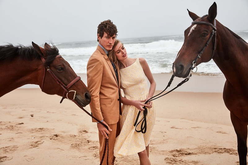 Models Oriol Elcacho and Hanna Verhees front Brooks Brothers' summer 2019 campaign.