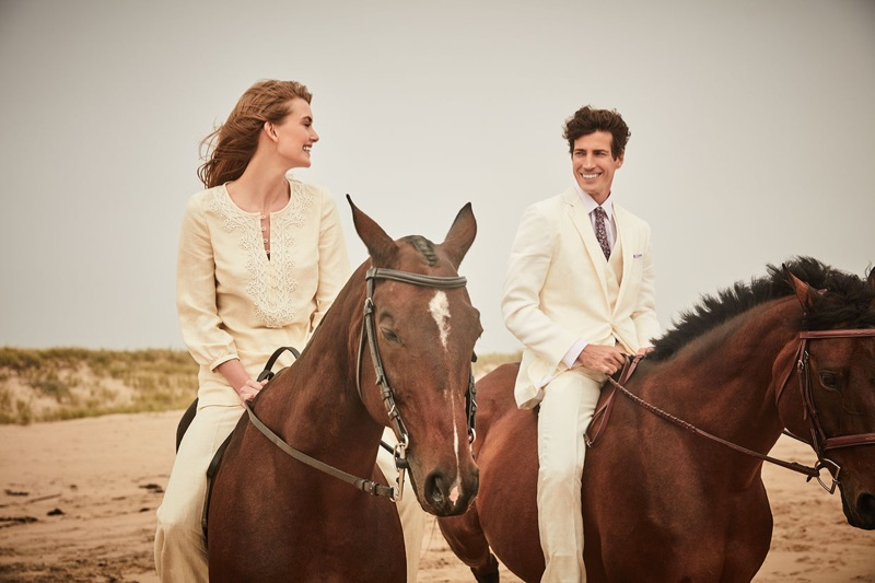 Hanna Verhees and Oriol Elcacho ride horses for Brooks Brothers' summer 2019 campaign.