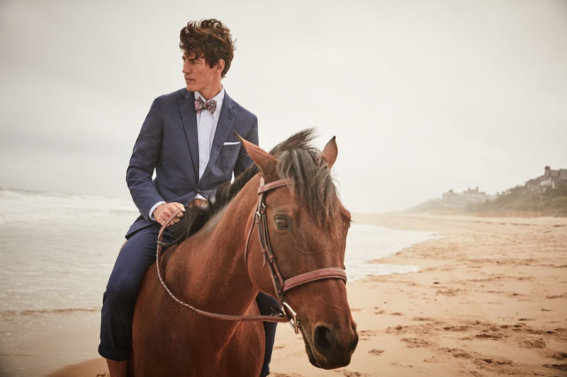 A dapper vision, Oriol Elcacho stars in Brooks Brothers' summer 2019 campaign.