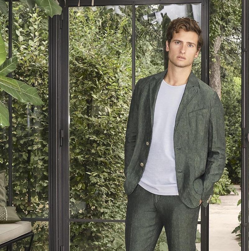 British model Tom Warren fronts Brooksfield's spring-summer 2019 campaign.