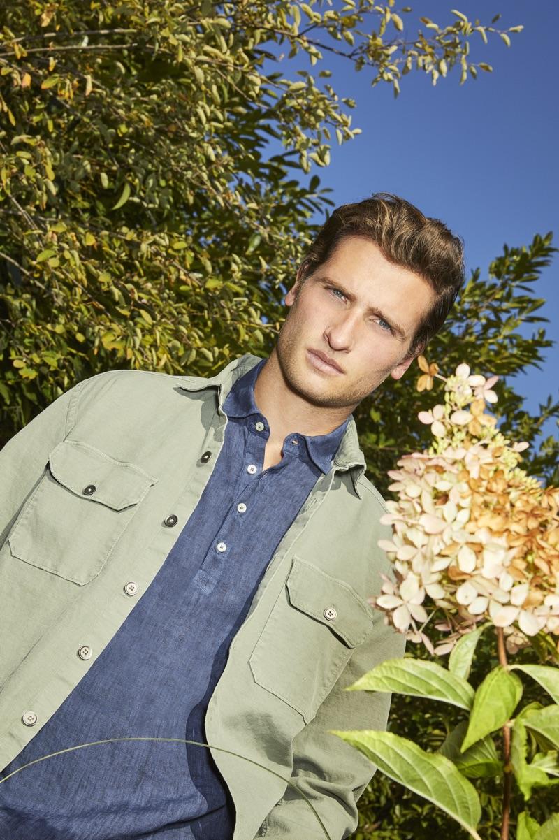 Model Tom Warren wears menswear from Brooksfield's spring-summer 2019 collection.