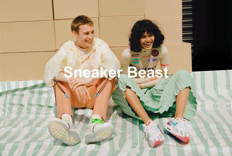 """Browns enlists models Michael Sharp and Radhika Nair to star in its """"Sneaker Beast"""" shoot. Pictured left, Michael wears a Jil Sander t-shirt, Sunnei jacket, Burberry trousers, and sneakers from Stadium Goods."""