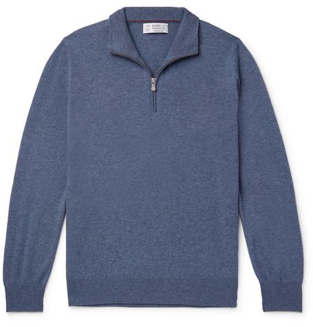 Brunello Cucinelli - Cashmere Half-Zip Sweater - Men - Navy