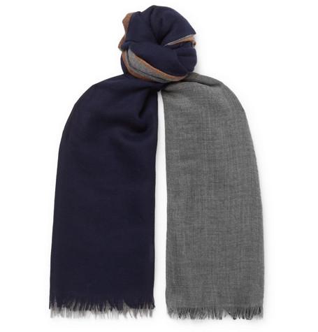 Brunello Cucinelli - Colour-Block Cashmere and Silk-Blend Scarf - Men - Blue