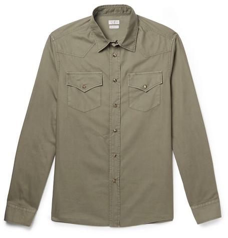 Brunello Cucinelli - Cotton Western Shirt - Men - Army green