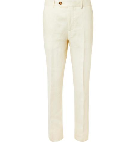 Brunello Cucinelli - Cream Linen Suit Trousers - Men - Cream