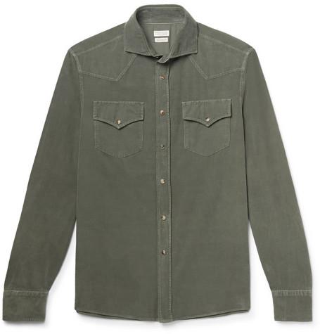 Brunello Cucinelli - Cutaway-Collar Cotton-Corduroy Western Shirt - Men - Green