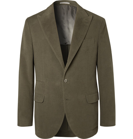 Brunello Cucinelli - Dark-Sage Unstructured Cotton and Cashmere-Blend Suit Jacket - Men - Green