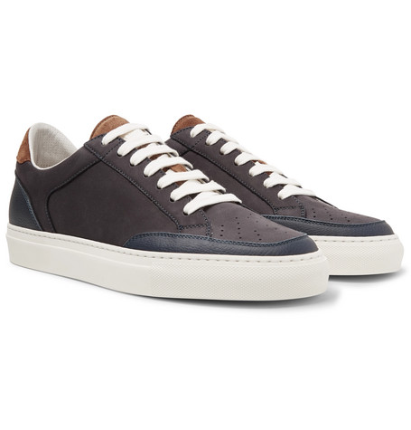 Brunello Cucinelli - Leather-Trimmed Nubuck Sneakers - Men - Storm blue