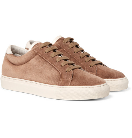 Brunello Cucinelli - Leather-Trimmed Suede Sneakers - Men - Brown
