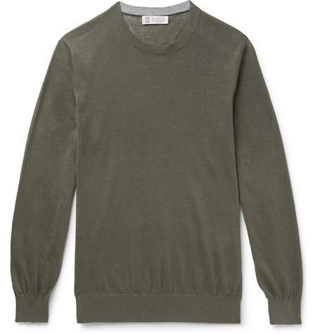 Brunello Cucinelli - Linen and Cotton-Blend Sweater - Men - Army green
