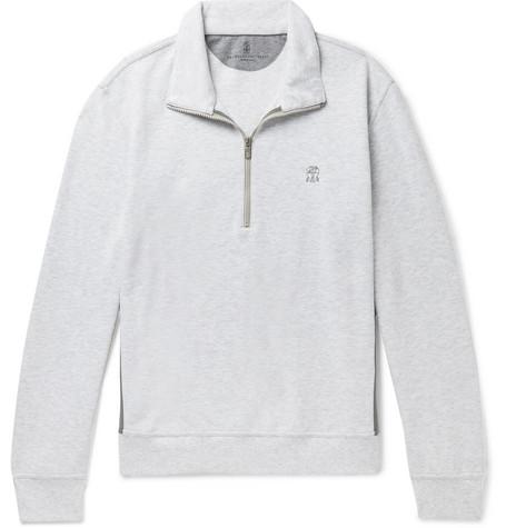 Brunello Cucinelli - Panelled Cotton-Blend Jersey and Shell Half-Zip Sweatshirt - Men - Light gray