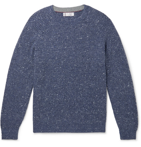 Brunello Cucinelli - Ribbed Mélange Wool-Blend Sweater - Men - Navy