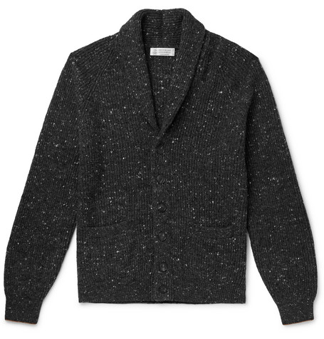 Brunello Cucinelli - Shawl-Collar Mélange Virgin Wool-Blend Cardigan - Men - Dark gray