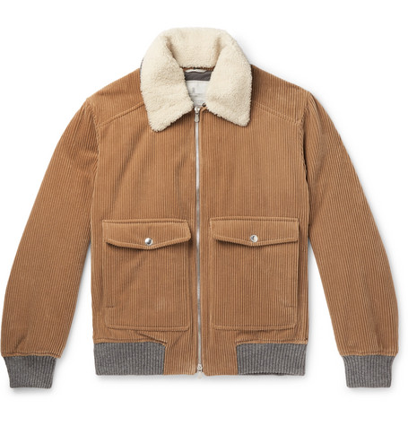 Brunello Cucinelli - Shearling-Trimmed Cotton and Cashmere-Blend Corduroy Bomber Jacket - Men - Brown
