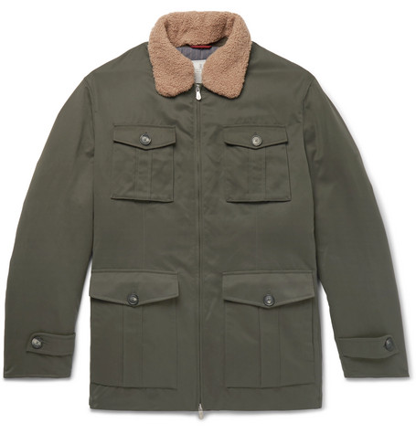 Brunello Cucinelli - Shearling-Trimmed Microfibre-Shell Down Field Jacket - Men - Green