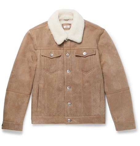 Brunello Cucinelli - Shearling Trucker Jacket - Men - Sand