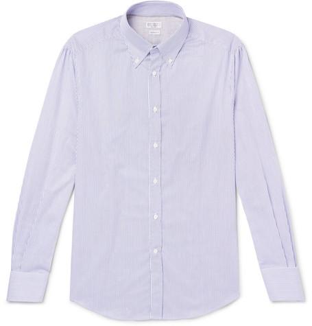 Brunello Cucinelli - Slim-Fit Button-Down Collar Striped Cotton-Poplin Shirt - Men - Blue