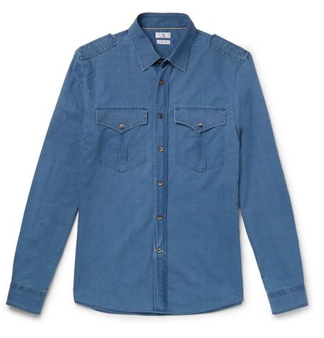 Brunello Cucinelli - Slim-Fit Cotton-Chambray Shirt - Men - Blue