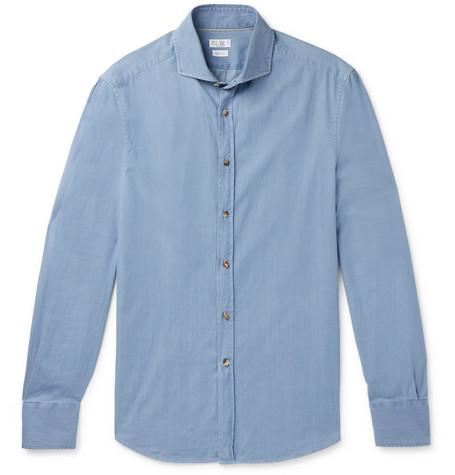 Brunello Cucinelli - Slim-Fit Cotton-Chambray Shirt - Men - Light blue