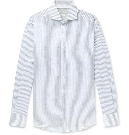 Brunello Cucinelli - Slim-Fit Cutaway-Collar Striped Linen Shirt - Men - Navy