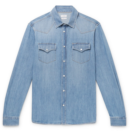 Brunello Cucinelli - Slim-Fit Denim Shirt - Men - Light blue