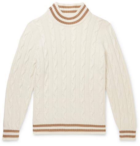 Brunello Cucinelli - Striped Cable-Knit Cashmere Sweater - Men - Off-white