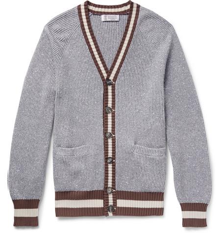Brunello Cucinelli - Striped Cotton-Blend Cardigan - Men - Gray