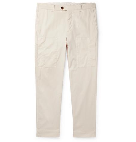 Brunello Cucinelli - Tapered Cotton-Blend Trousers - Men - Beige