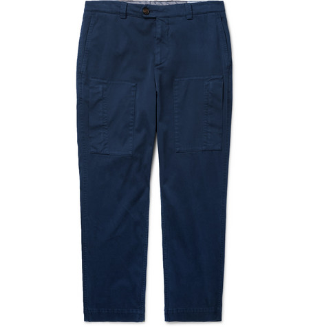 Brunello Cucinelli - Tapered Cotton-Blend Trousers - Men - Navy