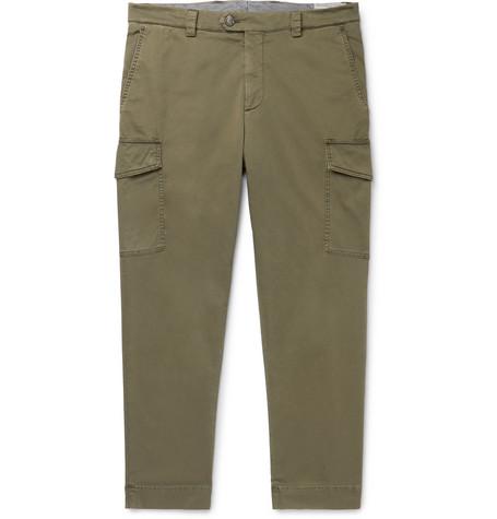 Brunello Cucinelli - Tapered Cotton-Blend Twill Cargo Trousers - Men - Green