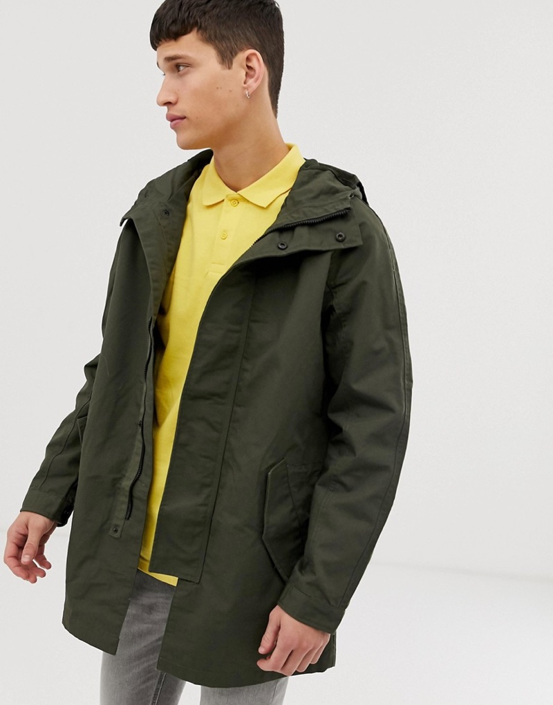 Burton Menswear Parka Jacket in Khaki $79