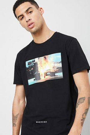 Car Fire Graphic Tee at Forever 21 Black/multi