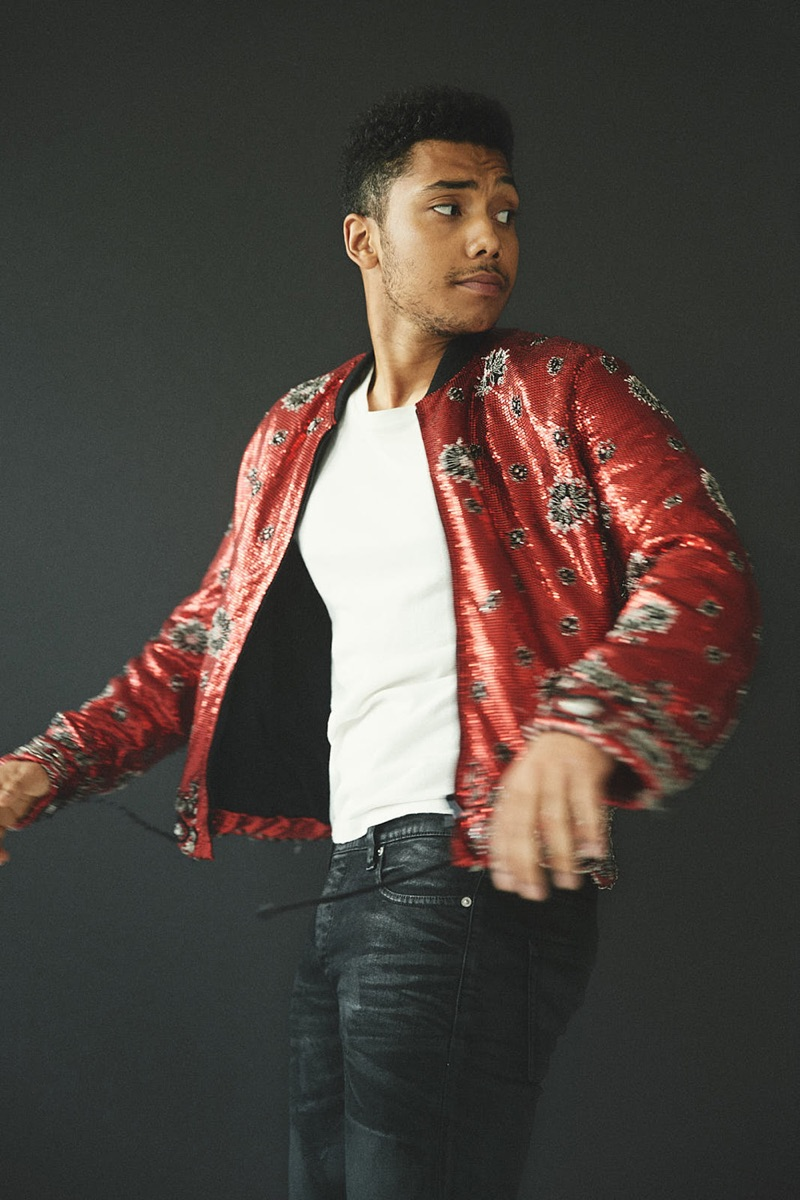 Taking to the studio, Chance Perdomo sports a shirt and sequined jacket by Saint Laurent with The Kooples jeans.