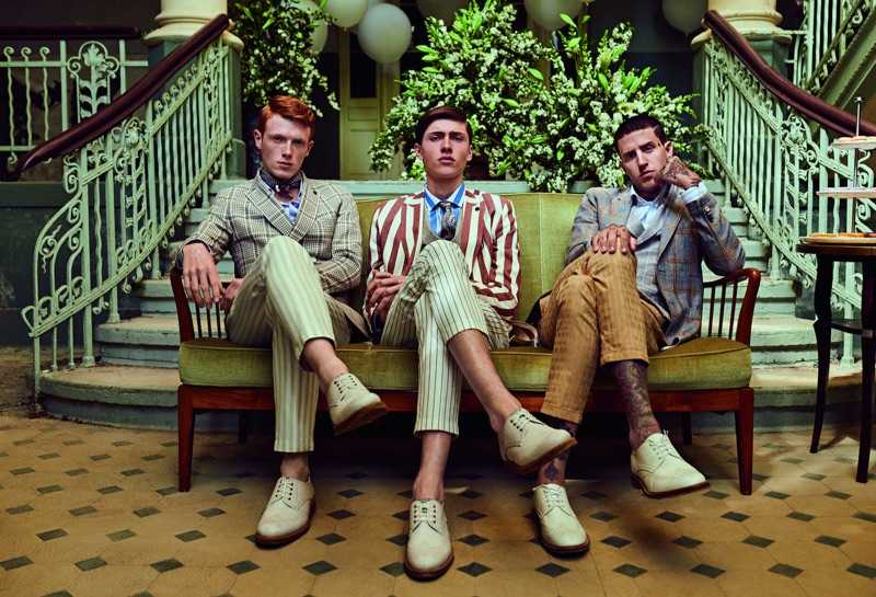 Embracing dandy style, Linus Wordemann, Sep Graf, and Miles Langford star in Club of Gents' spring-summer 2019 campaign.