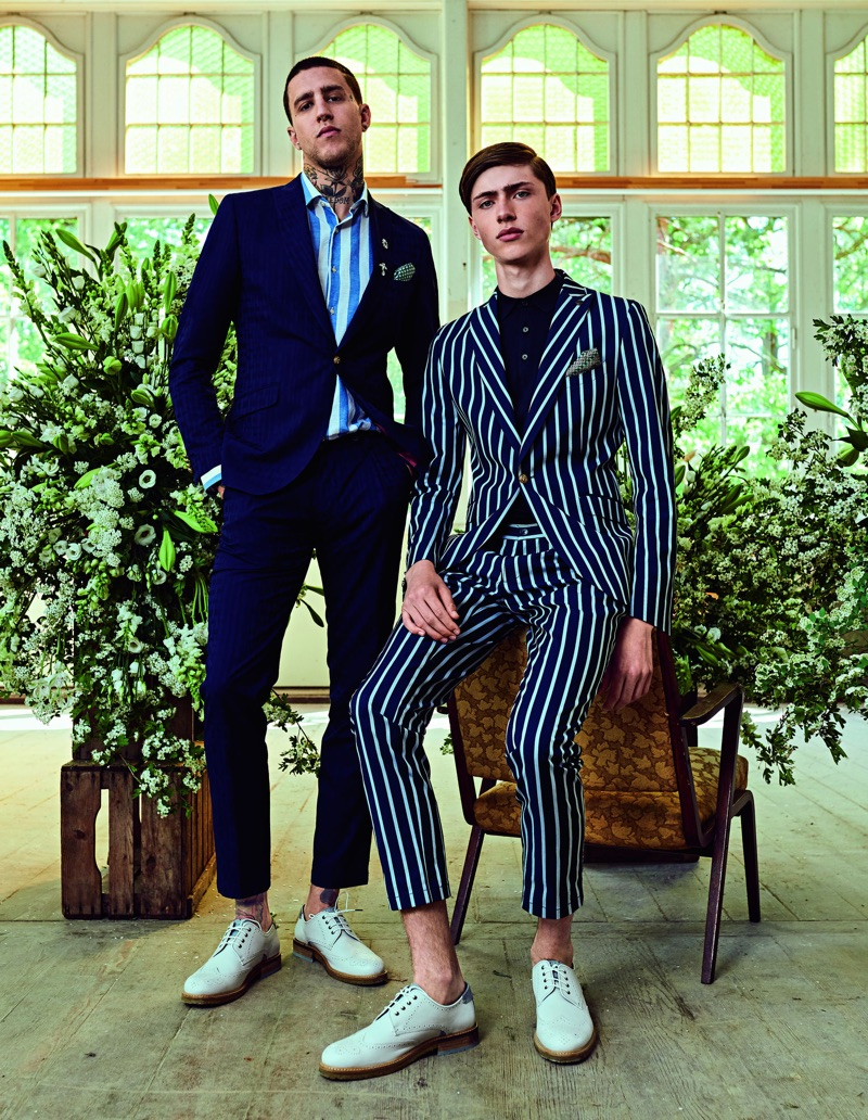 Models Miles Langford and Sep Graf suit up for Club of Gents' spring-summer 2019 campaign.