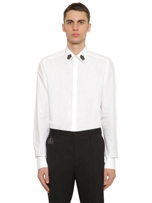 Cotton Poplin Shirt W/ Embroidery
