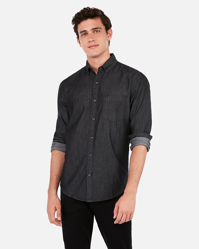 Express Classic Button-Down Denim Shirt $59.90