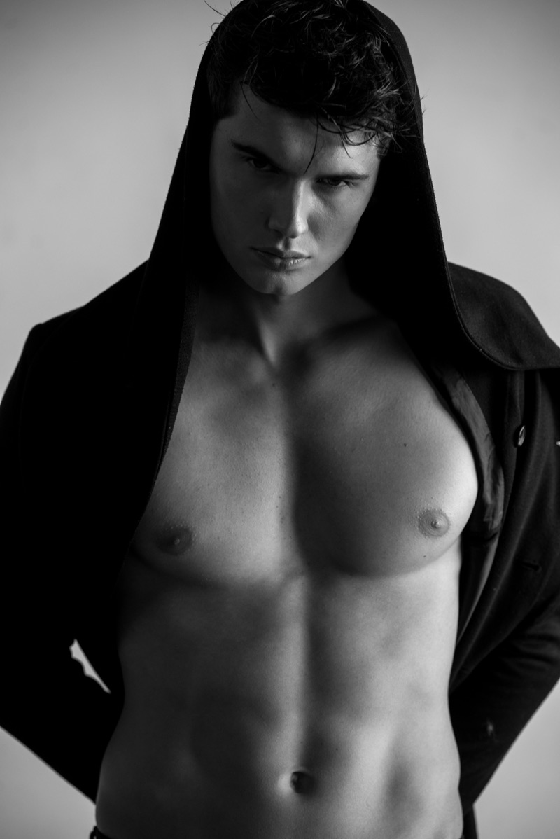 Lukas wears hooded top Chris Diaz.