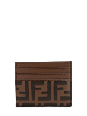 Ff Embossed Leather Card Holder