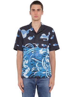 Fish Rain Printed Cotton Poplin Shirt