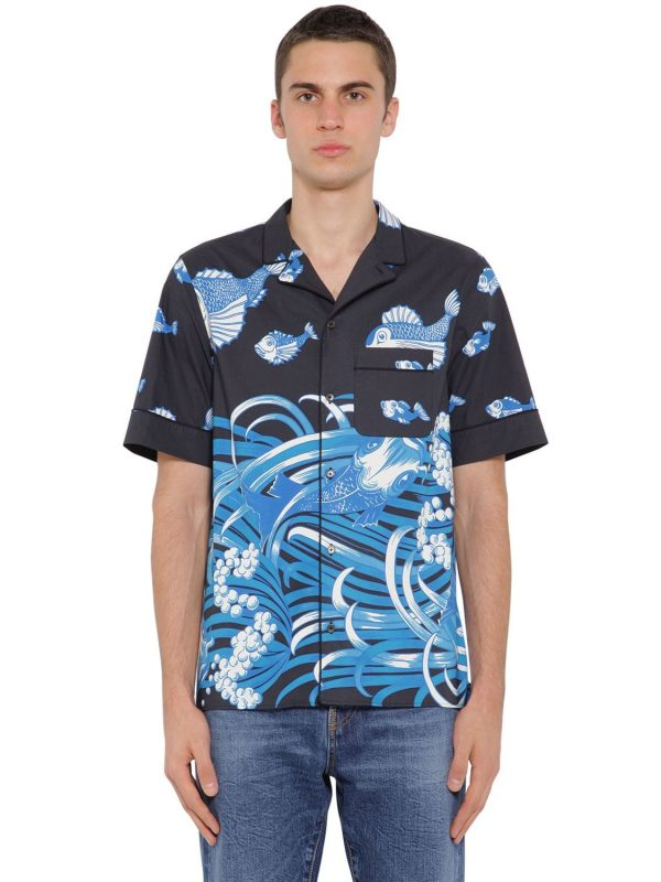 Fish Rain Printed Cotton Poplin Shirt