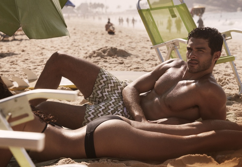 Model Pedro Aboud appears in a campaign for Frescobol Carioca.