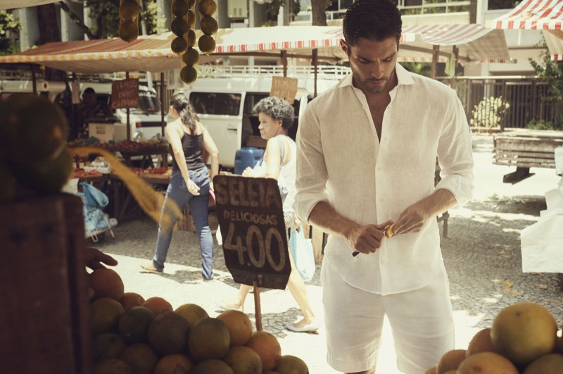 Clad in white, Pedro Aboud fronts a campaign for Frescobol Carioca.