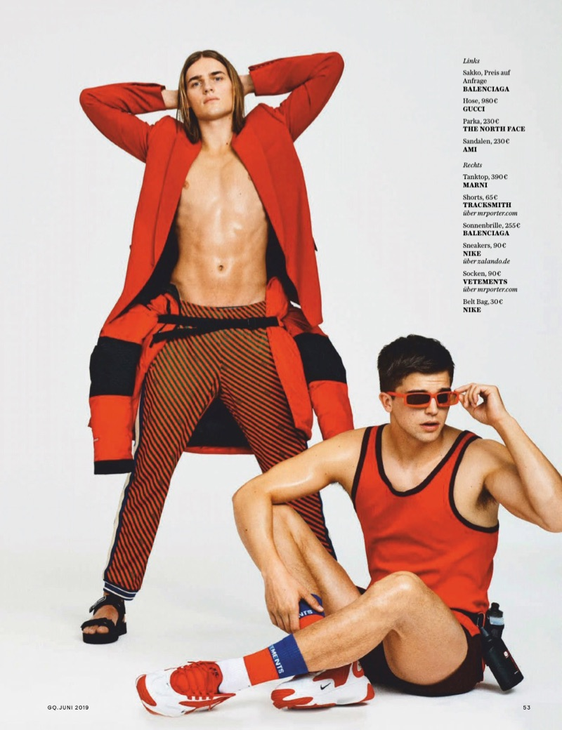 Ton Heukels, Alessio Pozzi & River Viiperi Go Sporty for GQ Germany