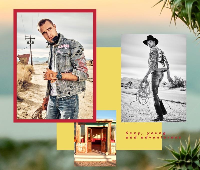 Arsenii Savitckii stars in GUESS' summer 2019 campaign.