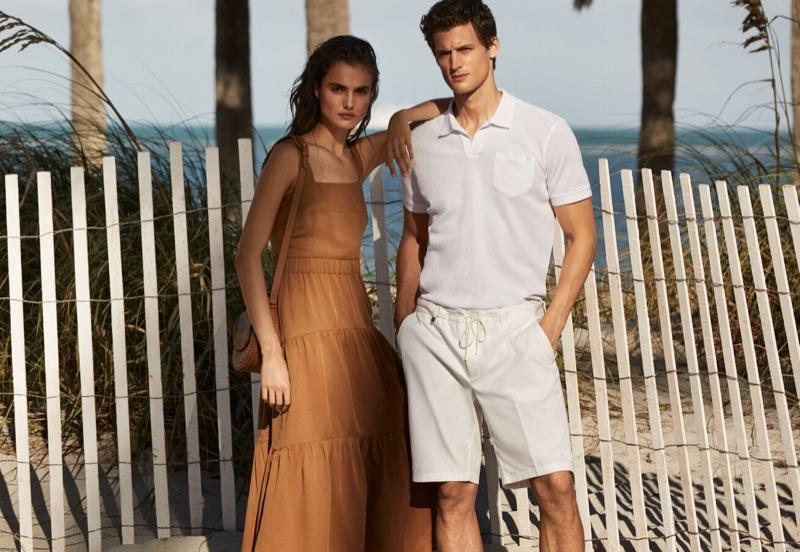 Blanca Padilla and Garrett Neff take to the beach for Pedro del Hierro's latest outing.