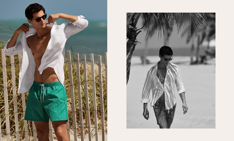 A summer vision, Garrett Neff wears Pedro del Hierro.