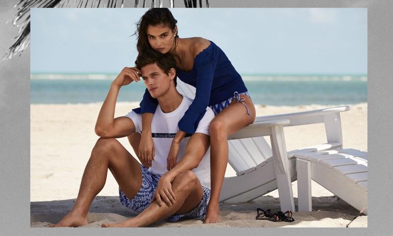 Models Garrett Neff and Blanca Padilla don summer looks from Pedro del Hierro.
