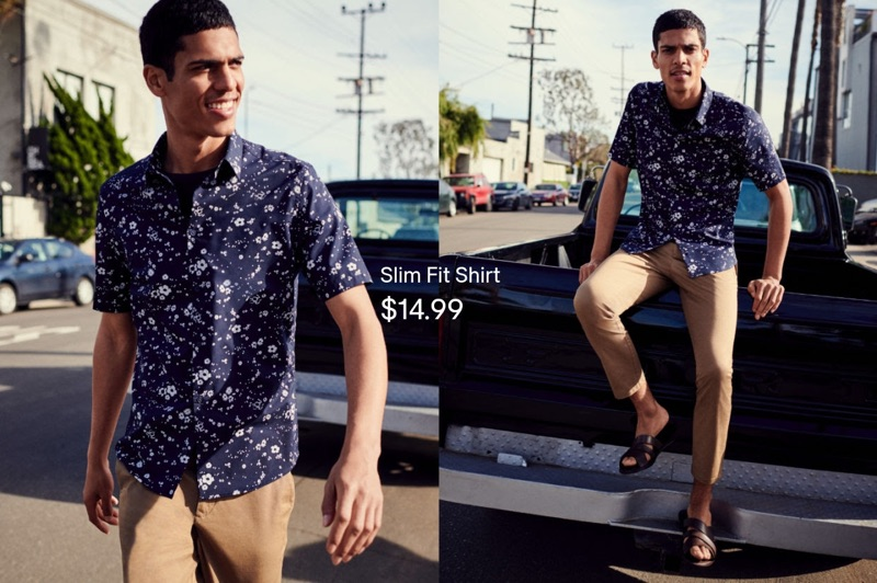 Tackling summer style, Geron McKinley wears a printed short-sleeve shirt with slim-fit pants.